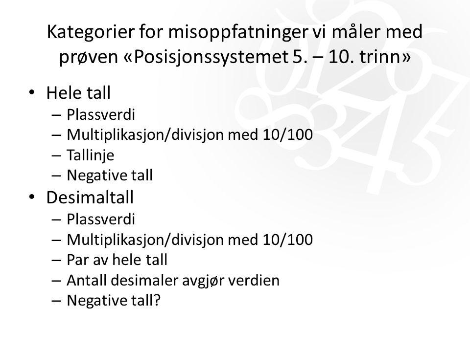 Kategorier for misoppfatninger vi måler med prøven «Posisjonssystemet 5. – 10. trinn» Hele tall – Plassverdi – Multiplikasjon/divisjon med 10/100 – Ta