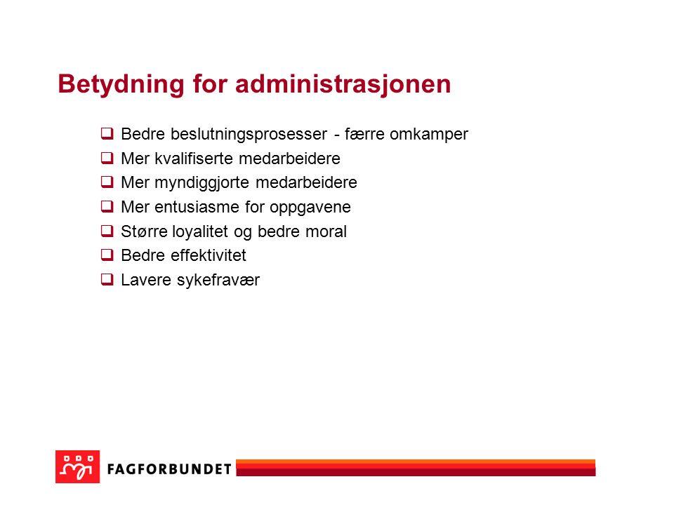 Betydning for administrasjonen  Bedre beslutningsprosesser - færre omkamper  Mer kvalifiserte medarbeidere  Mer myndiggjorte medarbeidere  Mer ent