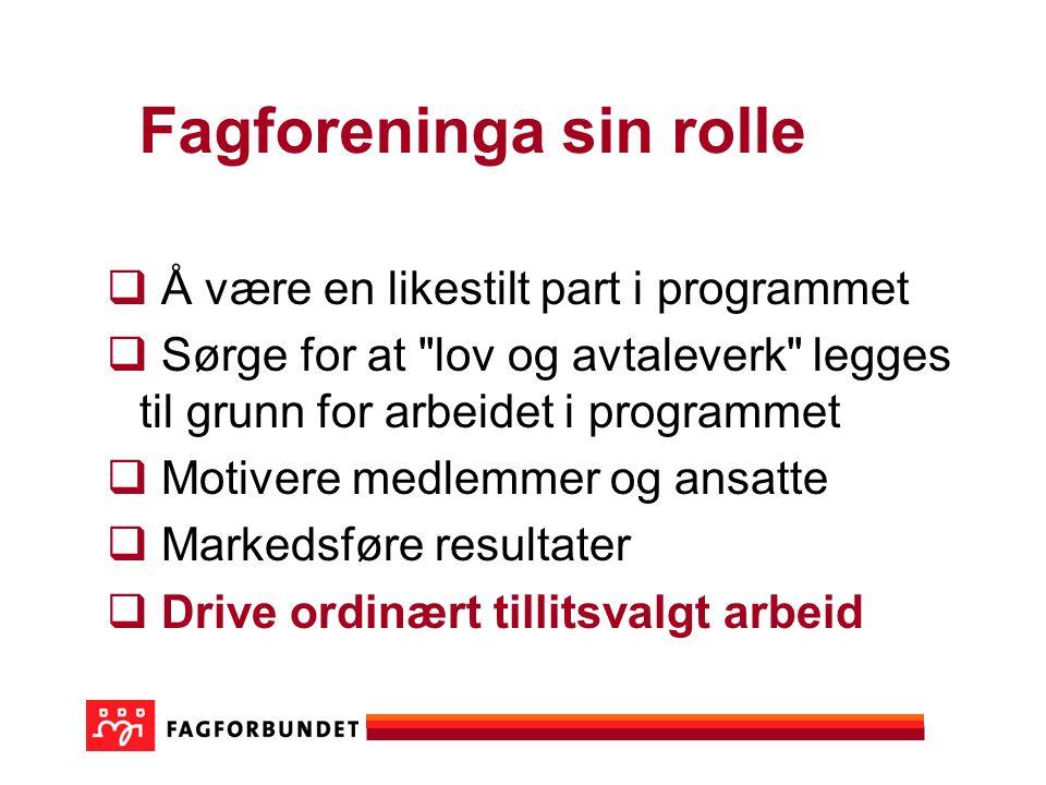 Fagforeninga sin rolle  Å være en likestilt part i programmet  Sørge for at