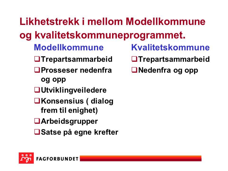 Likhetstrekk i mellom Modellkommune og kvalitetskommuneprogrammet.
