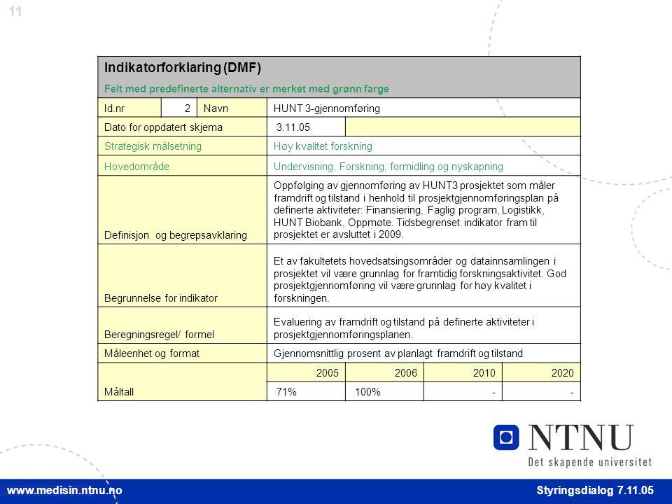 11 Styringsdialog 7.11.05 www.medisin.ntnu.no Indikatorforklaring (DMF) Felt med predefinerte alternativ er merket med grønn farge Id.nr2NavnHUNT 3-gjennomføring Dato for oppdatert skjema 3.11.05 Strategisk målsetningHøy kvalitet forskning HovedområdeUndervisning, Forskning, formidling og nyskapning Definisjon og begrepsavklaring Oppfølging av gjennomføring av HUNT3 prosjektet som måler framdrift og tilstand i henhold til prosjektgjennomføringsplan på definerte aktiviteter: Finansiering, Faglig program, Logistikk, HUNT Biobank, Oppmøte.