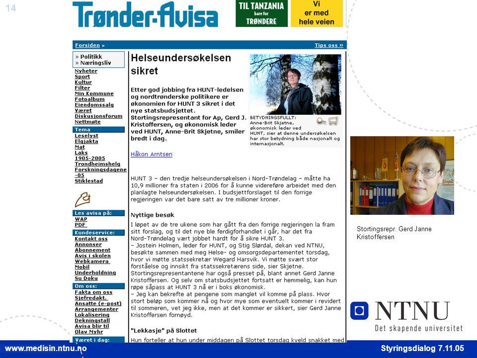 14 Styringsdialog 7.11.05 www.medisin.ntnu.no Stortingsrepr. Gerd Janne Kristoffersen