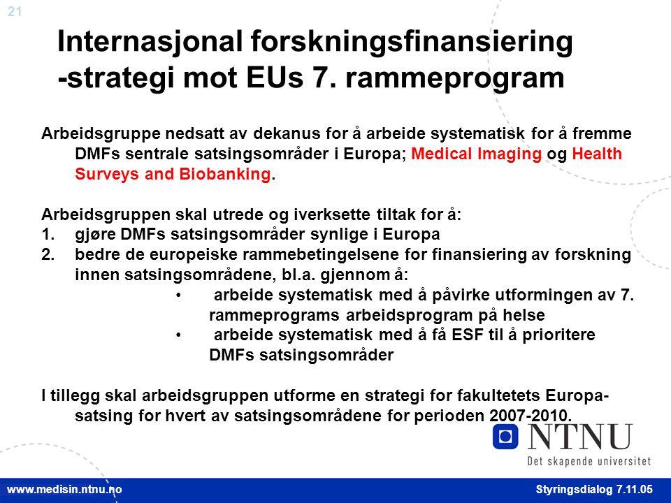 21 Styringsdialog 7.11.05 www.medisin.ntnu.no Internasjonal forskningsfinansiering -strategi mot EUs 7.