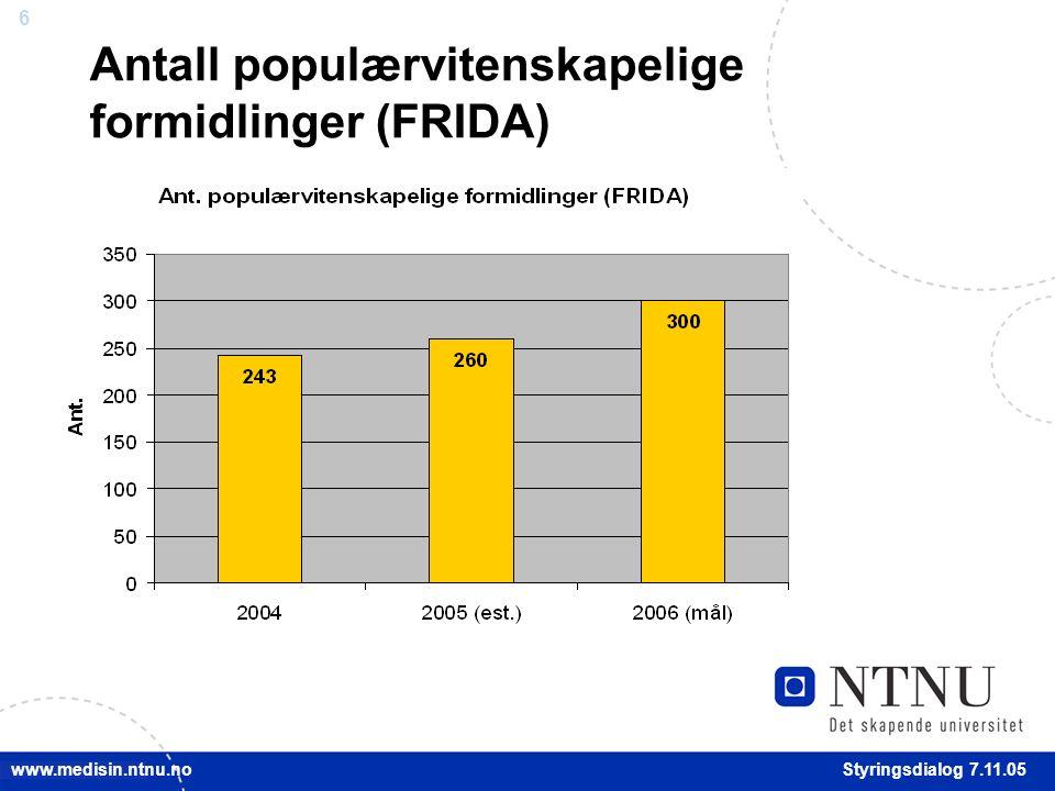 6 Styringsdialog 7.11.05 www.medisin.ntnu.no Antall populærvitenskapelige formidlinger (FRIDA)