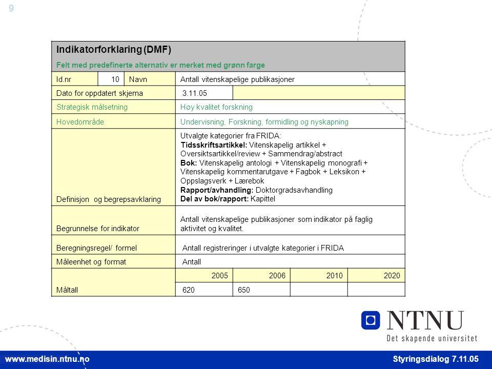 20 Styringsdialog 7.11.05 www.medisin.ntnu.no Internasjonal forskningsfinansiering / EU Resultat 2005:3 EU-søknader* Mål 2006:2 EU-søknader** * Marie Curie Research Training Network (RTN), Specific Targeted Research Project (STREP) og Coordication Action (CA) ** I 2006 vil forberedelser og posisjonering i forkant av EUs 7.