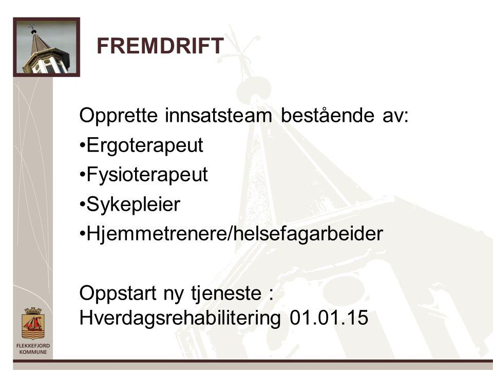 FREMDRIFT Opprette innsatsteam bestående av: Ergoterapeut Fysioterapeut Sykepleier Hjemmetrenere/helsefagarbeider Oppstart ny tjeneste : Hverdagsrehabilitering 01.01.15