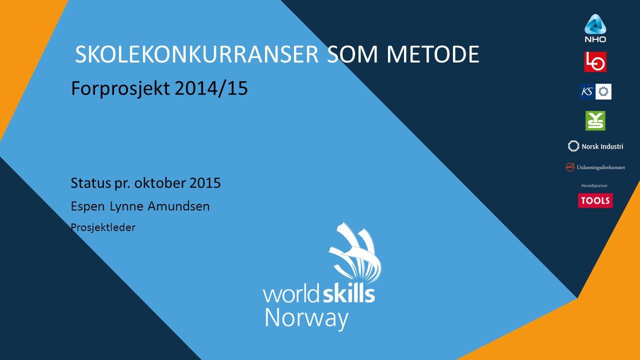 SKOLEKONKURRANSER SOM METODE Forprosjekt 2014/15 Status pr. oktober 2015 Espen Lynne Amundsen Prosjektleder