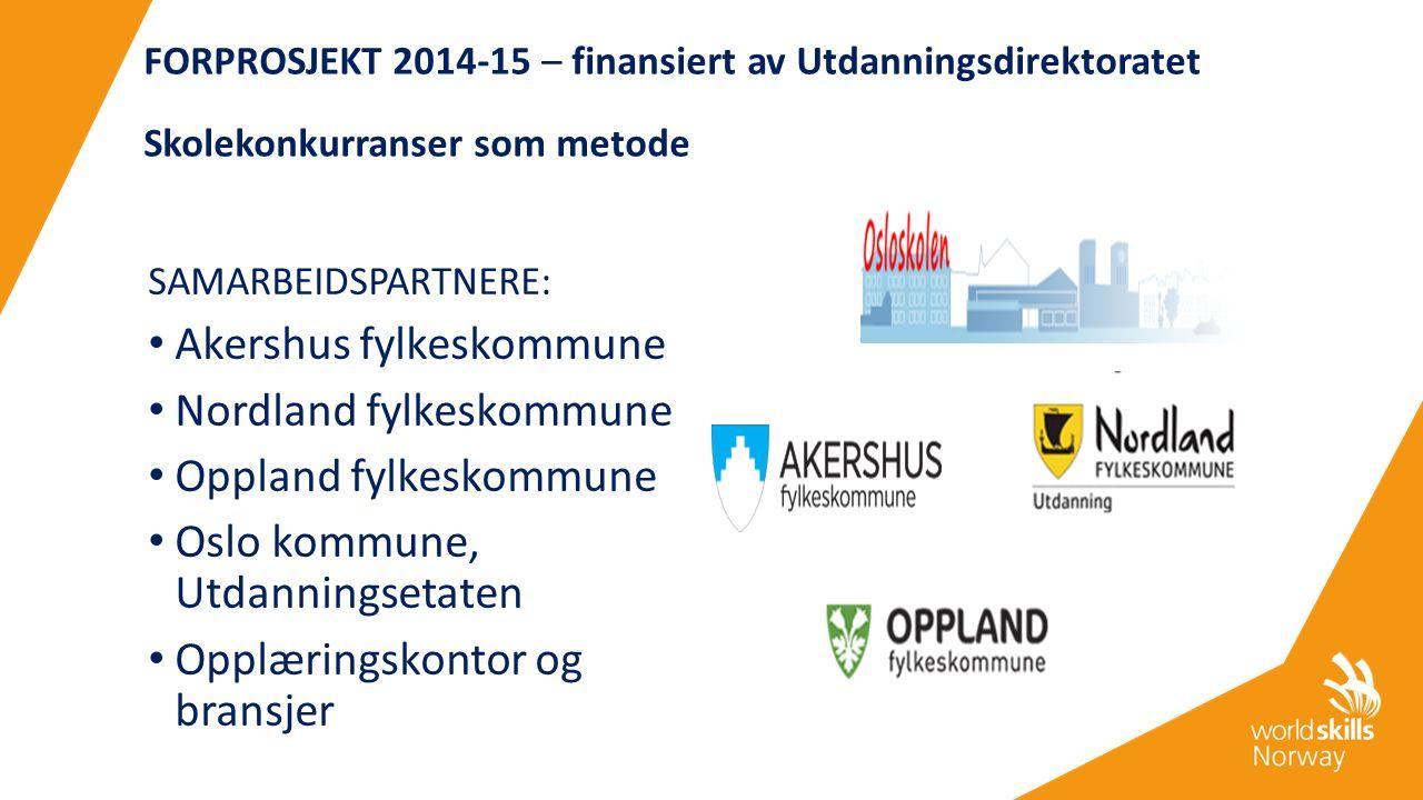 FORPROSJEKT 2014-15 – finansiert av Utdanningsdirektoratet Skolekonkurranser som metode SAMARBEIDSPARTNERE: Akershus fylkeskommune Nordland fylkeskomm