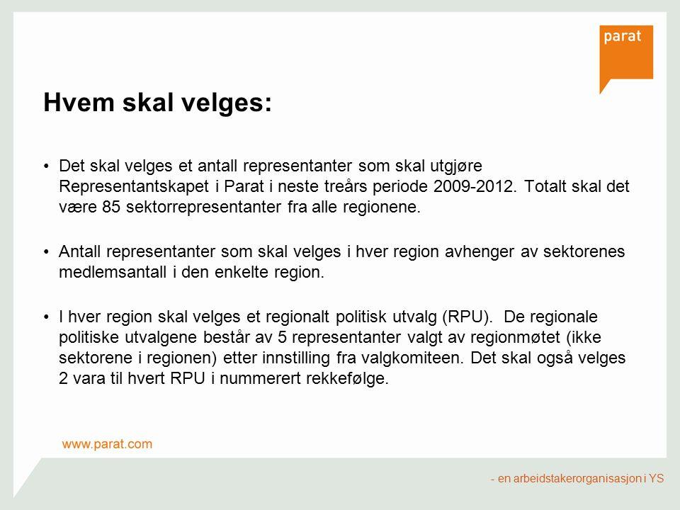 Hvem skal velges: Det skal velges et antall representanter som skal utgjøre Representantskapet i Parat i neste treårs periode 2009-2012. Totalt skal d