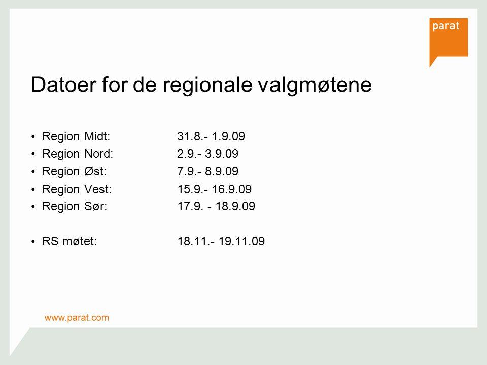 Datoer for de regionale valgmøtene Region Midt:31.8.- 1.9.09 Region Nord:2.9.- 3.9.09 Region Øst:7.9.- 8.9.09 Region Vest:15.9.- 16.9.09 Region Sør:17.9.