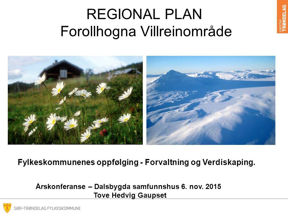 REGIONAL PLAN Forollhogna Villreinområde Fylkeskommunenes oppfølging - Forvaltning og Verdiskaping.