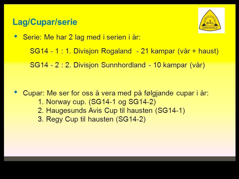 Lag/Cupar/serie Serie: Me har 2 lag med i serien i år: SG14 - 1 : 1.