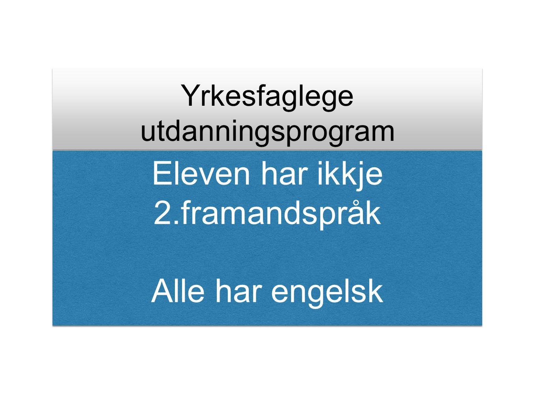 Yrkesfaglege utdanningsprogram Eleven har ikkje 2.framandspråk Alle har engelsk Eleven har ikkje 2.framandspråk Alle har engelsk