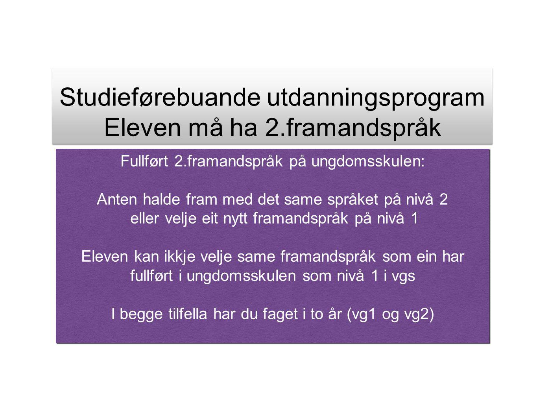 Studieførebuande utdanningsprogram Eleven må ha 2.framandspråk Studieførebuande utdanningsprogram Eleven må ha 2.framandspråk Fullført 2.framandspråk