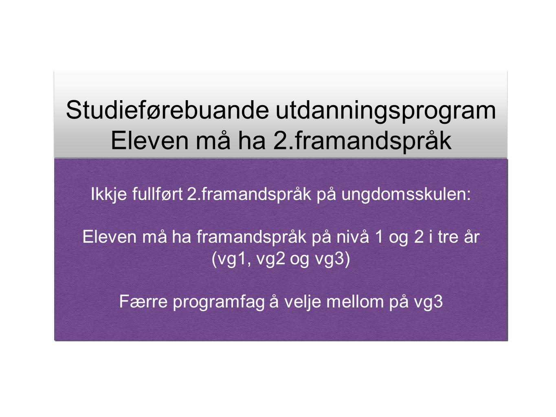 Studieførebuande utdanningsprogram Eleven må ha 2.framandspråk Studieførebuande utdanningsprogram Eleven må ha 2.framandspråk Ikkje fullført 2.framand