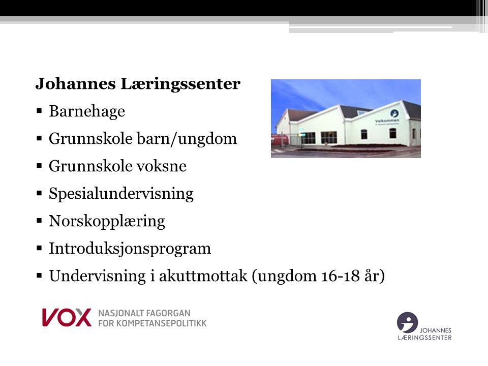 Johannes Læringssenter  Barnehage  Grunnskole barn/ungdom  Grunnskole voksne  Spesialundervisning  Norskopplæring  Introduksjonsprogram  Undervisning i akuttmottak (ungdom 16-18 år)
