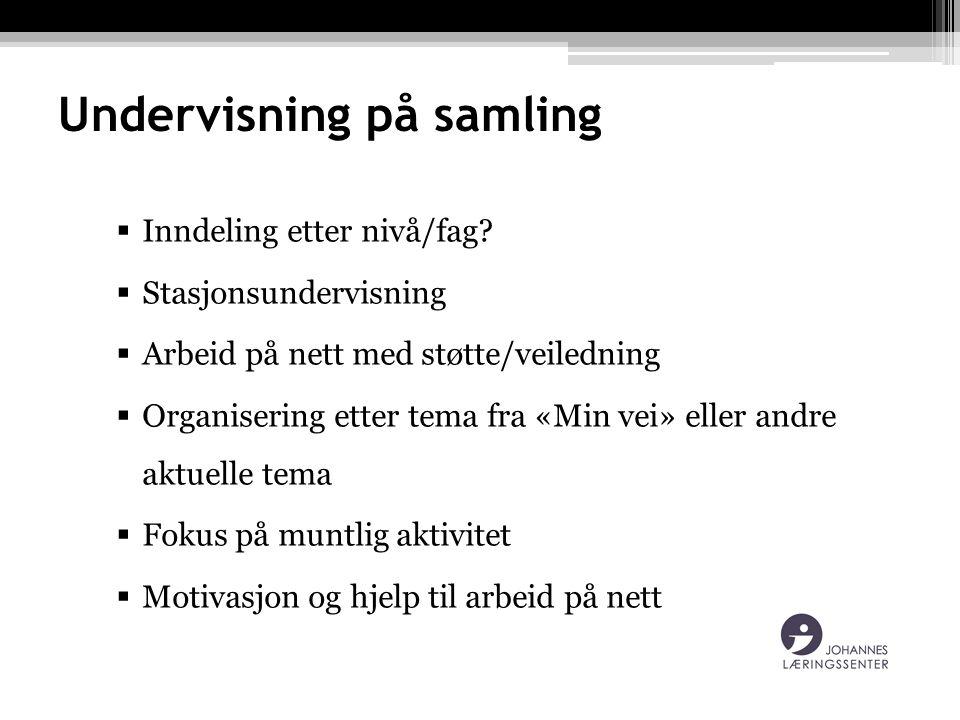 Undervisning på samling  Inndeling etter nivå/fag.