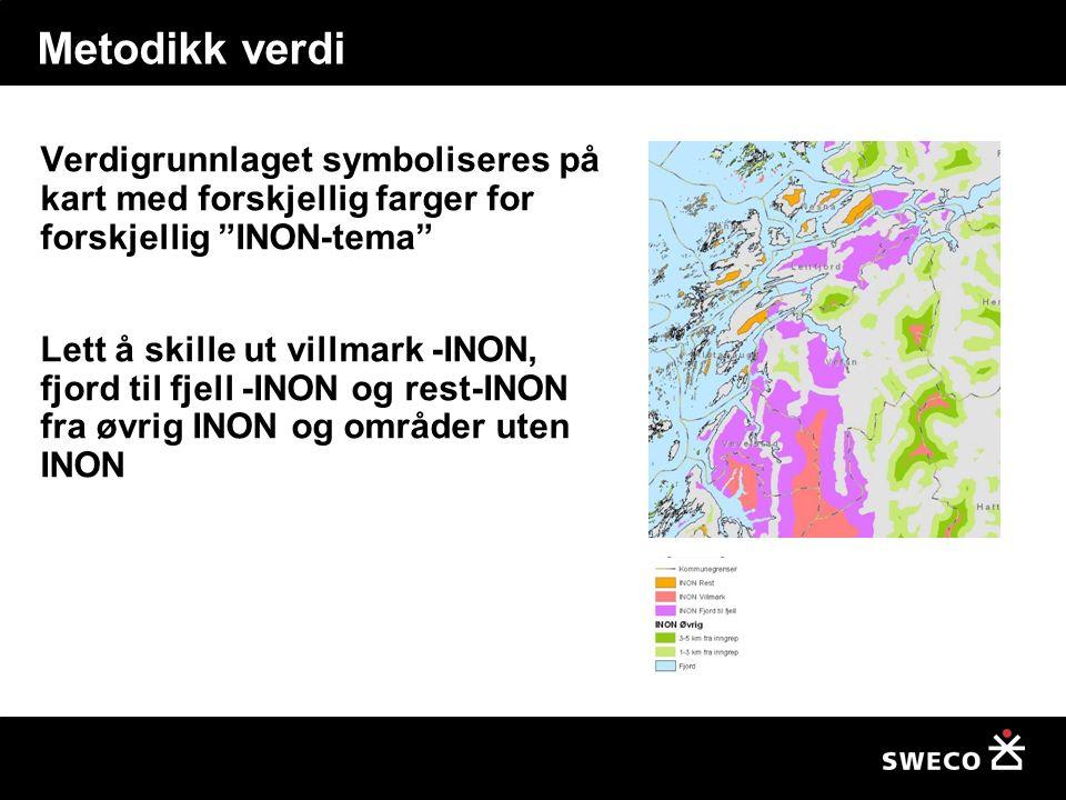 Metodikk verdi Verdigrunnlaget symboliseres på kart med forskjellig farger for forskjellig INON-tema Lett å skille ut villmark -INON, fjord til fjell -INON og rest-INON fra øvrig INON og områder uten INON