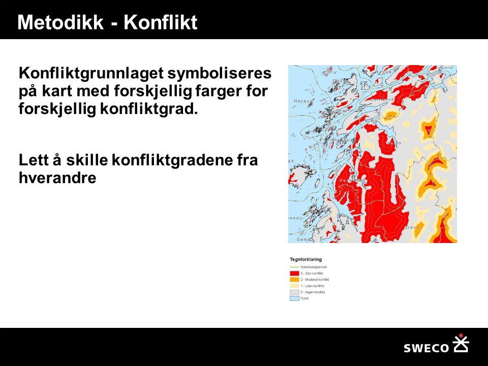 Metodikk - Konflikt Konfliktgrunnlaget symboliseres på kart med forskjellig farger for forskjellig konfliktgrad.