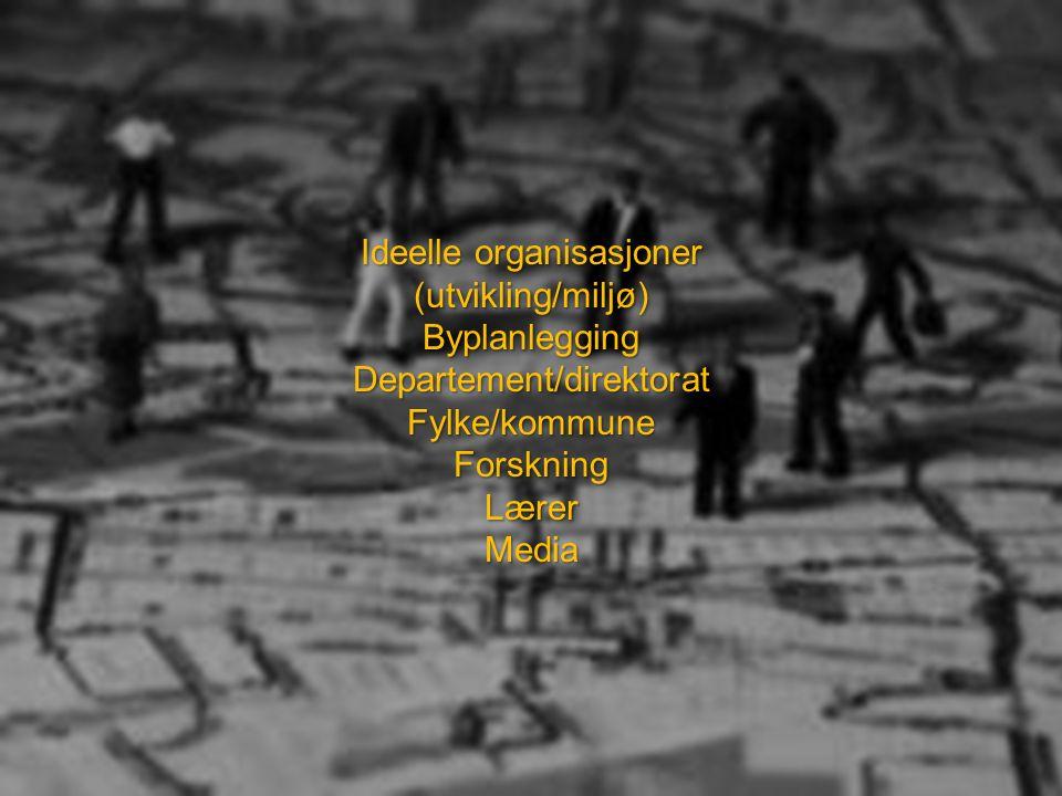 Ideelle organisasjoner (utvikling/miljø)ByplanleggingDepartement/direktoratFylke/kommuneForskningLærerMedia