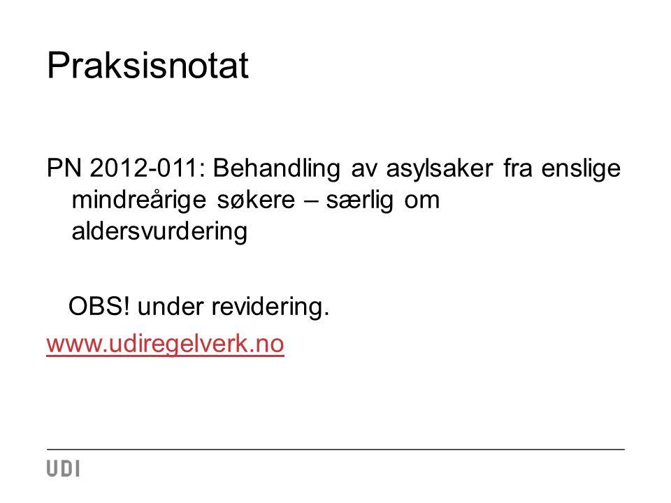 Praksisnotat PN 2012-011: Behandling av asylsaker fra enslige mindreårige søkere – særlig om aldersvurdering OBS.