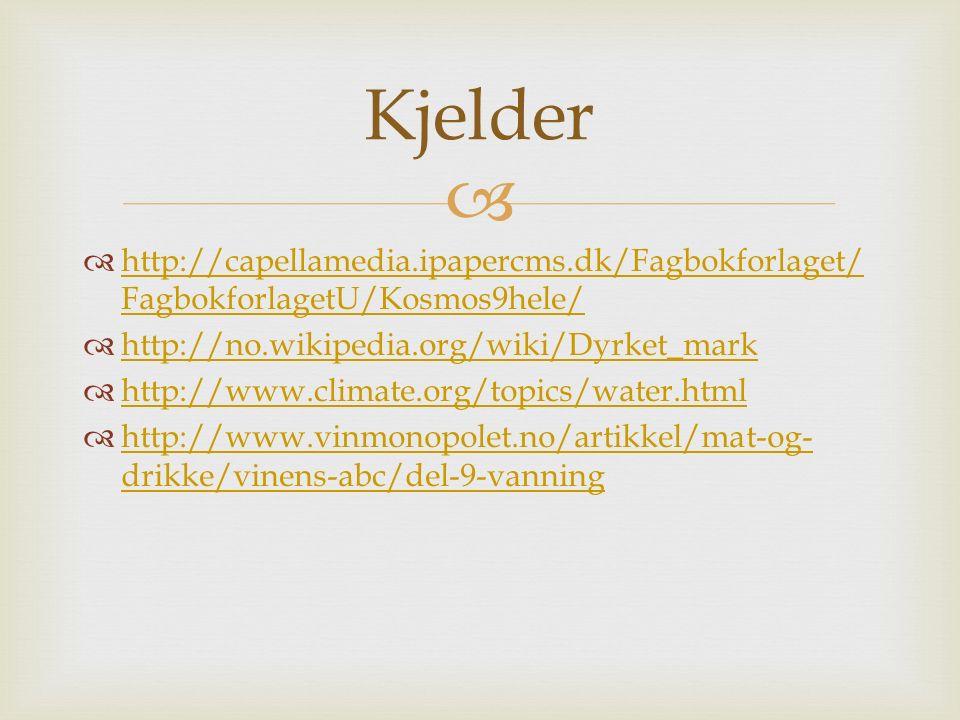   http://capellamedia.ipapercms.dk/Fagbokforlaget/ FagbokforlagetU/Kosmos9hele/ http://capellamedia.ipapercms.dk/Fagbokforlaget/ FagbokforlagetU/Kosmos9hele/  http://no.wikipedia.org/wiki/Dyrket_mark http://no.wikipedia.org/wiki/Dyrket_mark  http://www.climate.org/topics/water.html http://www.climate.org/topics/water.html  http://www.vinmonopolet.no/artikkel/mat-og- drikke/vinens-abc/del-9-vanning http://www.vinmonopolet.no/artikkel/mat-og- drikke/vinens-abc/del-9-vanning Kjelder