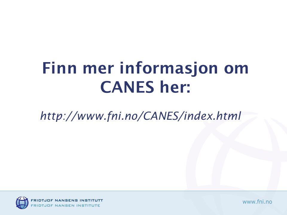 Finn mer informasjon om CANES her: http://www.fni.no/CANES/index.html