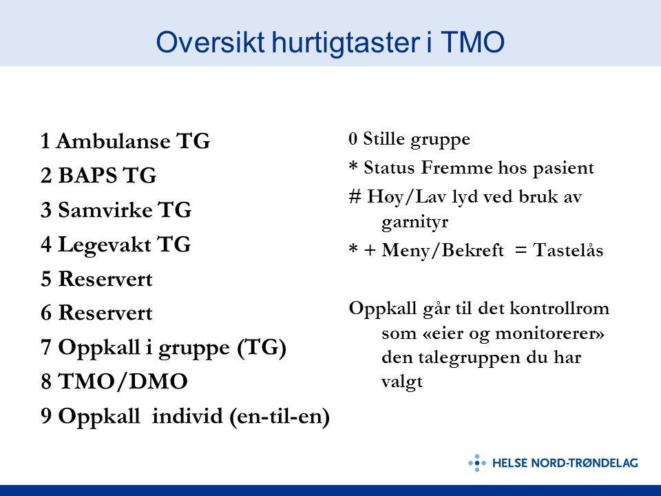 0 Stille gruppe * Status Fremme hos pasient # Høy/Lav lyd ved bruk av garnityr * + Meny/Bekreft = Tastelås Oppkall går til det kontrollrom som «eier og monitorerer» den talegruppen du har valgt Oversikt hurtigtaster i TMO 1 Ambulanse TG 2 BAPS TG 3 Samvirke TG 4 Legevakt TG 5 Reservert 6 Reservert 7 Oppkall i gruppe (TG) 8 TMO/DMO 9 Oppkall individ (en-til-en)