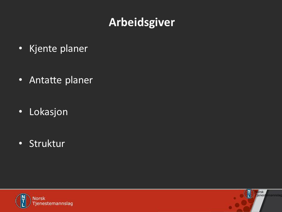 Arbeidsgiver Kjente planer Antatte planer Lokasjon Struktur
