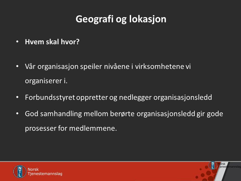 Geografi og lokasjon Hvem skal hvor? Vår organisasjon speiler nivåene i virksomhetene vi organiserer i. Forbundsstyret oppretter og nedlegger organisa