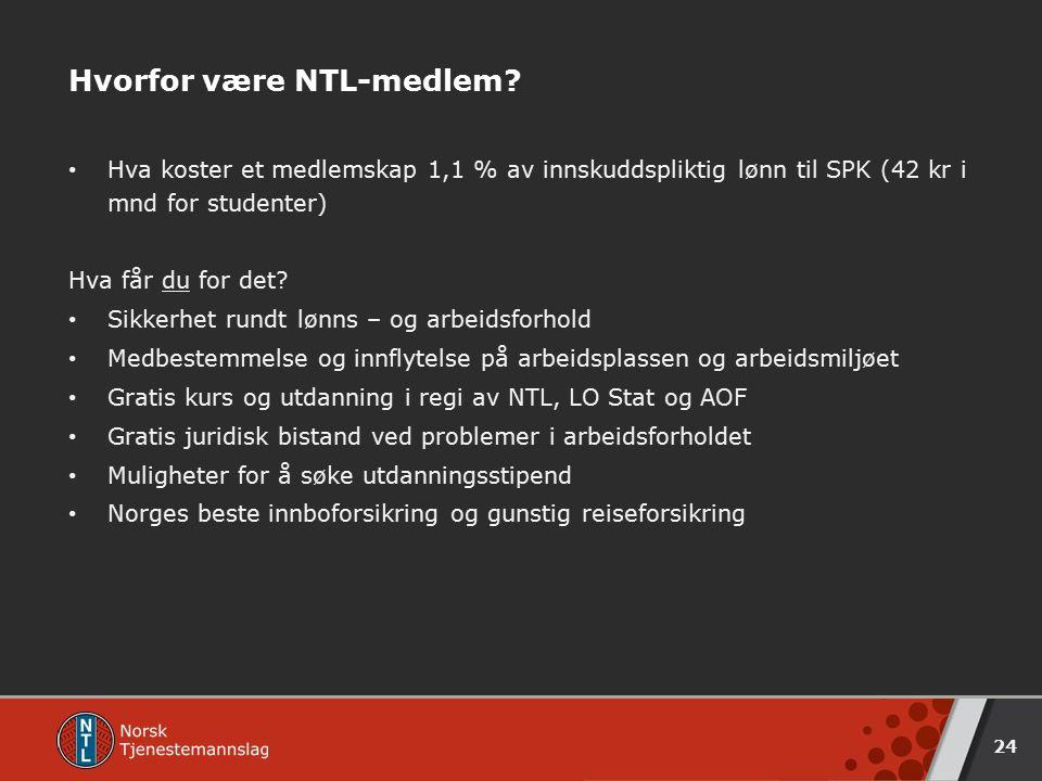 Hvorfor være NTL-medlem? Hva koster et medlemskap 1,1 % av innskuddspliktig lønn til SPK (42 kr i mnd for studenter) Hva får du for det? Sikkerhet run