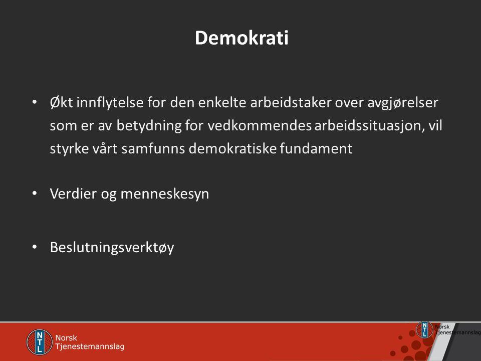 Demokrati Økt innflytelse for den enkelte arbeidstaker over avgjørelser som er av betydning for vedkommendes arbeidssituasjon, vil styrke vårt samfunn