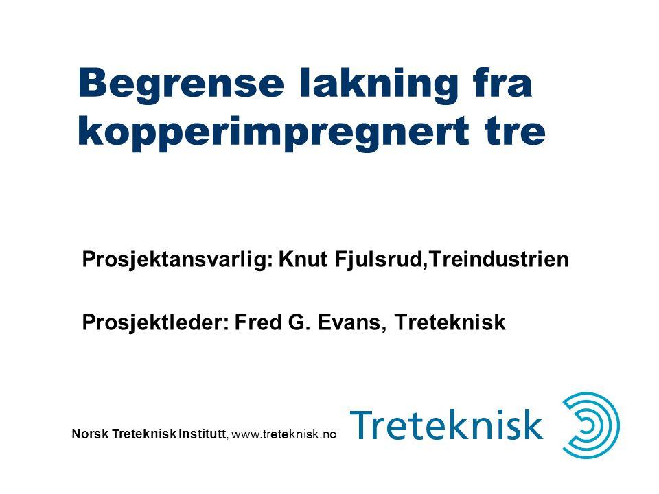 Norsk Treteknisk Institutt, www.treteknisk.no Begrense lakning fra kopperimpregnert tre Prosjektansvarlig: Knut Fjulsrud,Treindustrien Prosjektleder: Fred G.