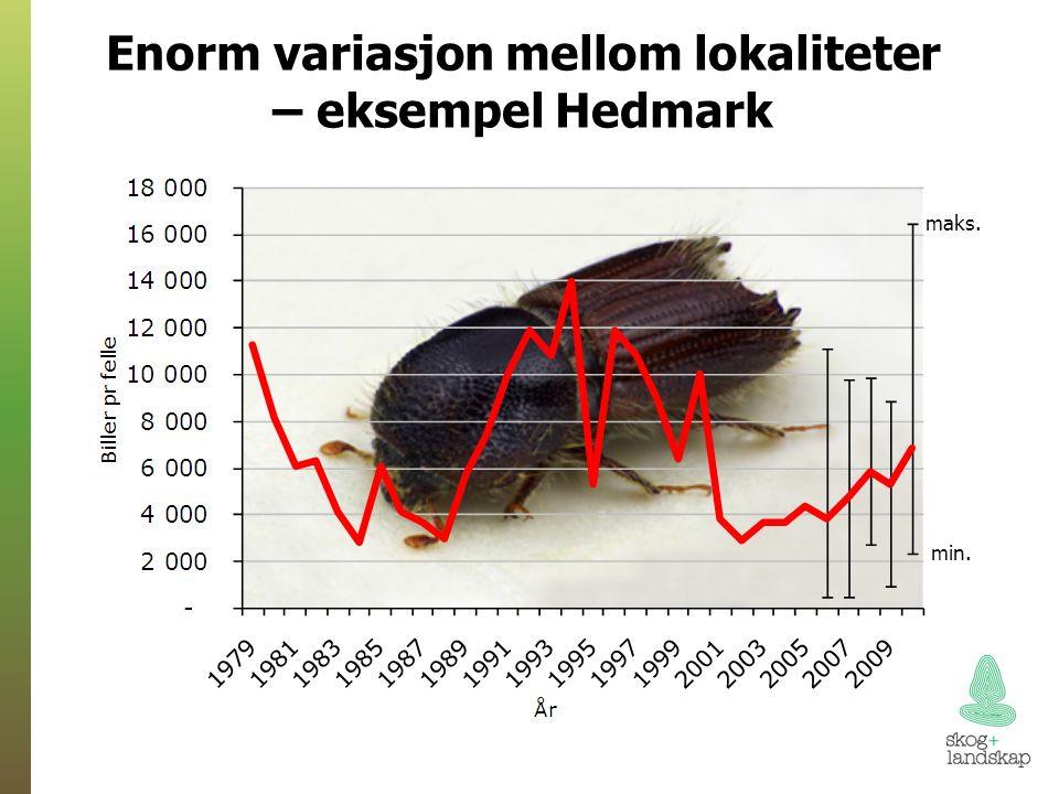 Enorm variasjon mellom lokaliteter – eksempel Hedmark maks. min.