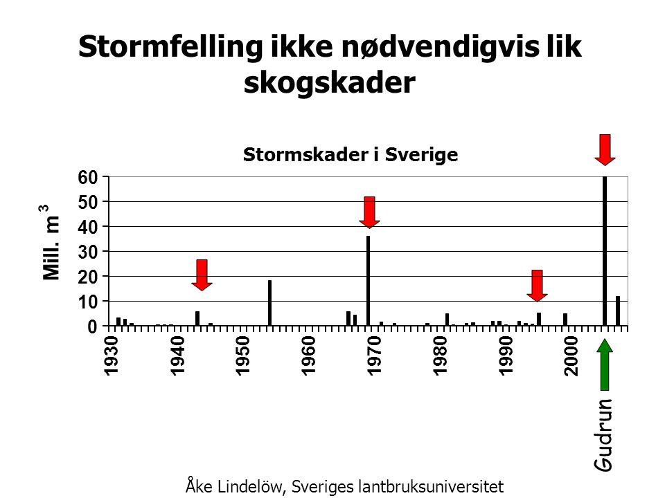 Stormfelling ikke nødvendigvis lik skogskader Gudrun Stormskader i Sverige 0 10 20 30 40 50 60 19301940 1950196019701980 1990 2000 Mill.