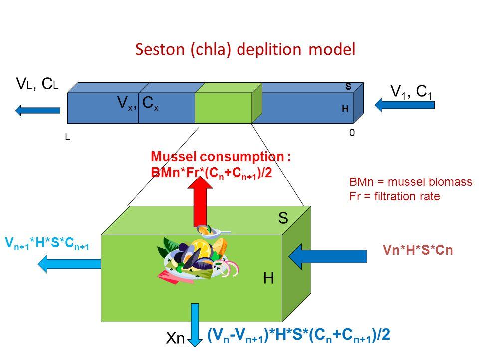 Seston (chla) deplition model Vn*H*S*Cn Mussel consumption : BMn*Fr*(C n +C n+1 )/2 V n+1 *H*S*C n+1 (V n -V n+1 )*H*S*(C n +C n+1 )/2 Xn S V 1, C 1 L H 0 S H V L, C L BMn = mussel biomass Fr = filtration rate V x, C x