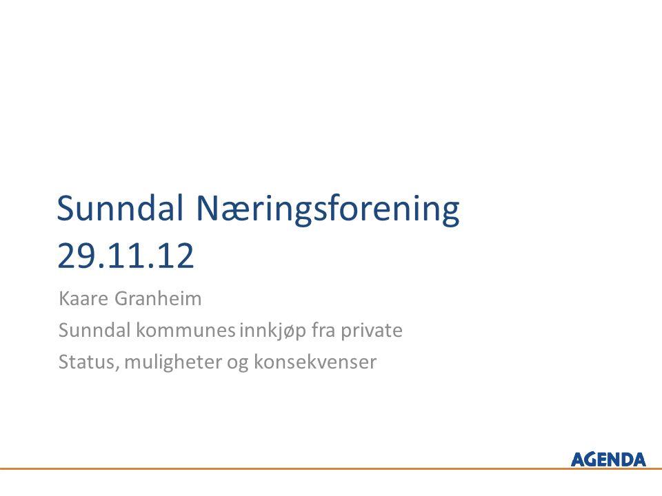 Sunndal Næringsforening 29.11.12 Kaare Granheim Sunndal kommunes innkjøp fra private Status, muligheter og konsekvenser