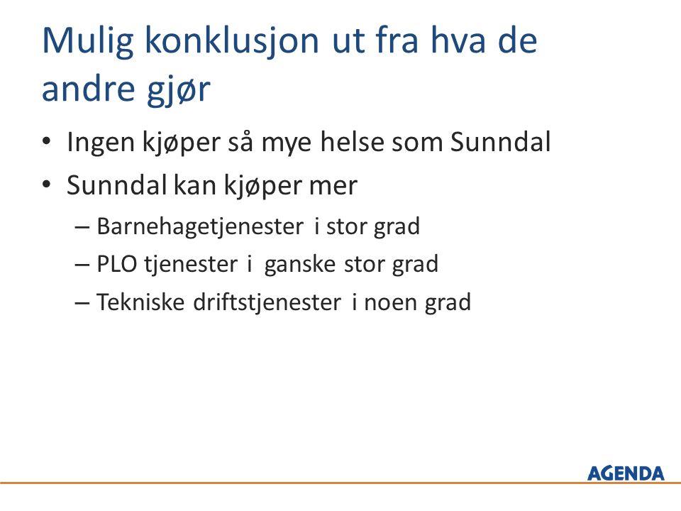 Mulig konklusjon ut fra hva de andre gjør Ingen kjøper så mye helse som Sunndal Sunndal kan kjøper mer – Barnehagetjenester i stor grad – PLO tjenester i ganske stor grad – Tekniske driftstjenester i noen grad