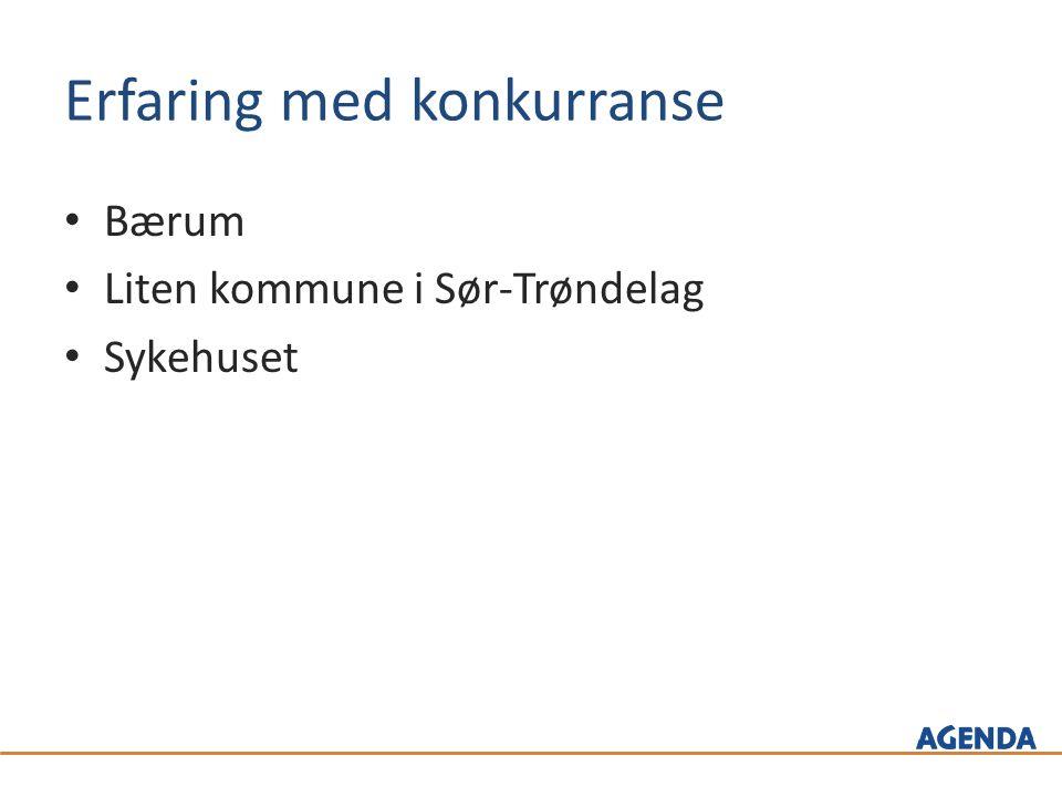 Erfaring med konkurranse Bærum Liten kommune i Sør-Trøndelag Sykehuset