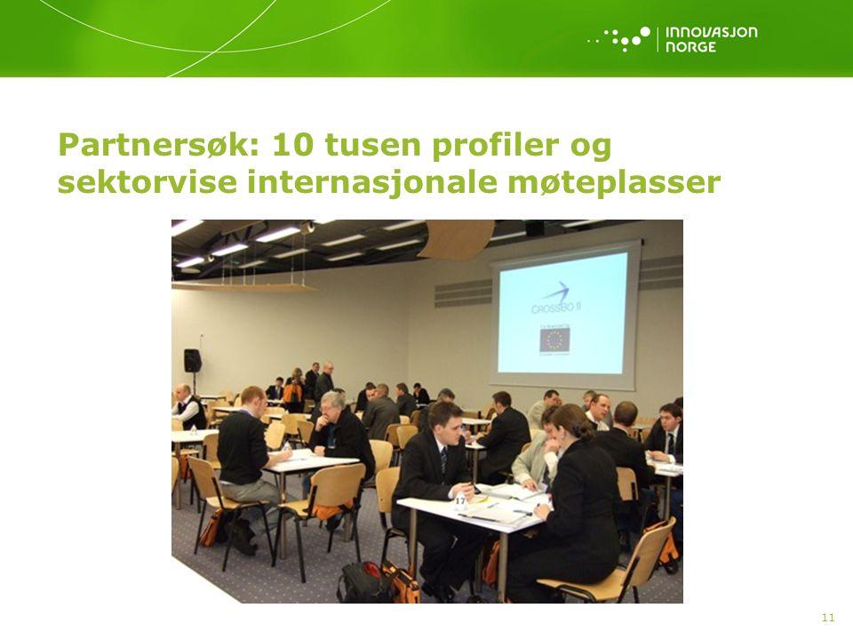 11 Partnersøk: 10 tusen profiler og sektorvise internasjonale møteplasser