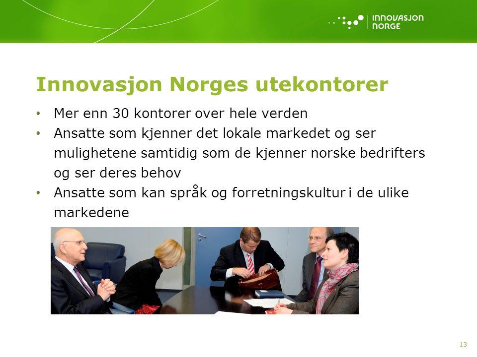 Innovasjon Norges utekontorer Mer enn 30 kontorer over hele verden Ansatte som kjenner det lokale markedet og ser mulighetene samtidig som de kjenner