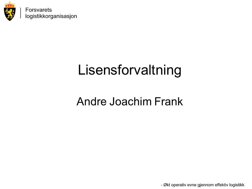 Lisensforvaltning Andre Joachim Frank