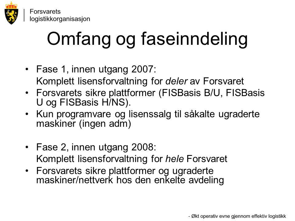 Omfang og faseinndeling Fase 1, innen utgang 2007: Komplett lisensforvaltning for deler av Forsvaret Forsvarets sikre plattformer (FISBasis B/U, FISBasis U og FISBasis H/NS).