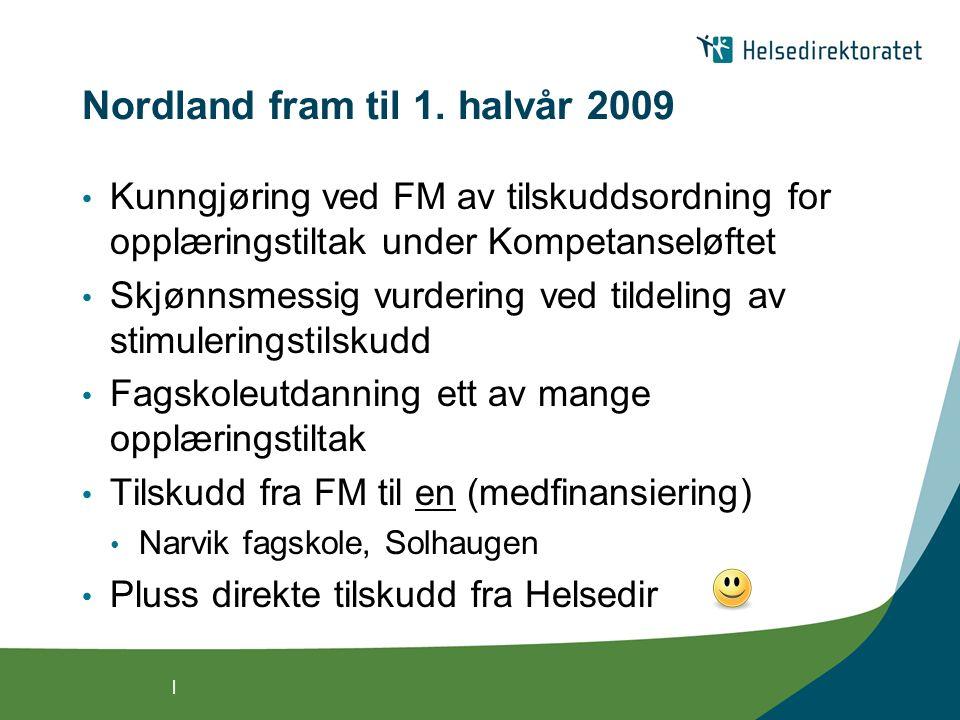 | Tildelingene høsten 2009 - utgangsposisjon 36,9 mill kroner fordelt Om lag 30 tilbydere og 80 tilbud 2500 studenter (1900 nye og 600 videreførte) Godt samsvar mellom midler og tilbud Brukbar geografisk spredning – alle fylker Over 200 stud: Buskerud, Hordaland og Rogaland Under 50 stud: Finnmark og Møre og Romsdal Begrenset faglig bredde Eldreomsorg og psykisk helse dominerer