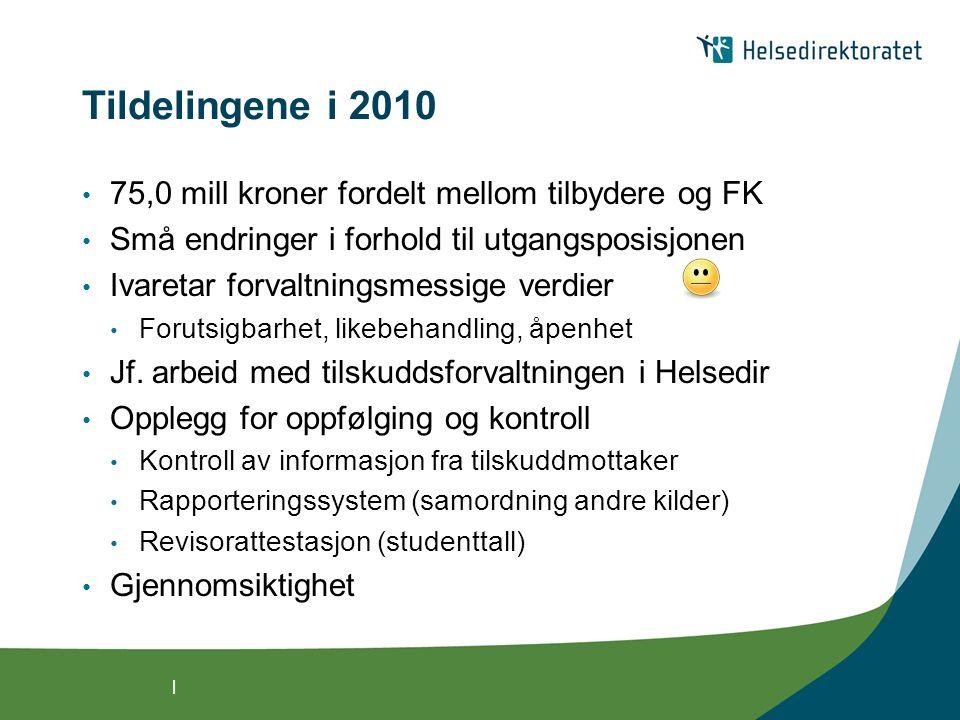 | Tildelingene i 2010 75,0 mill kroner fordelt mellom tilbydere og FK Små endringer i forhold til utgangsposisjonen Ivaretar forvaltningsmessige verdier Forutsigbarhet, likebehandling, åpenhet Jf.