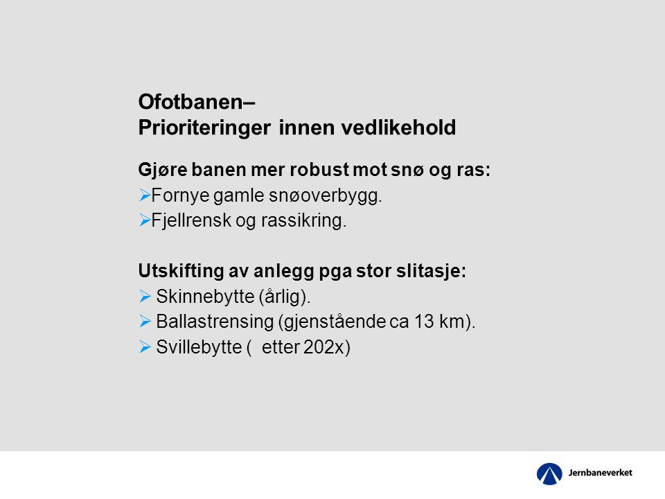Ofotbanen– Prioriteringer innen vedlikehold Gjøre banen mer robust mot snø og ras:  Fornye gamle snøoverbygg.