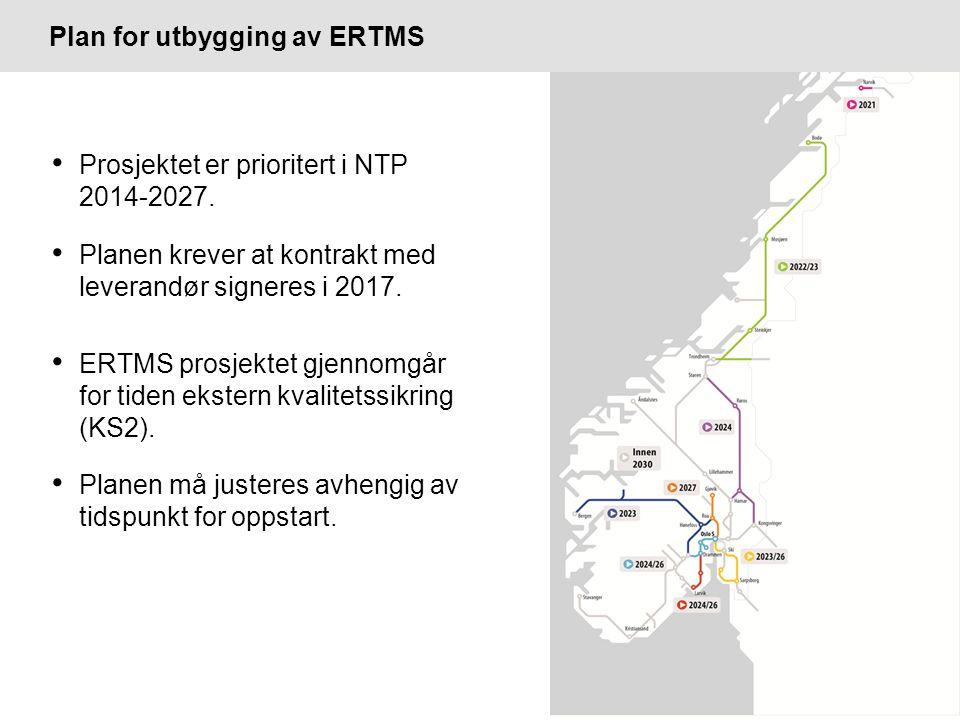 Plan for utbygging av ERTMS Prosjektet er prioritert i NTP 2014-2027.