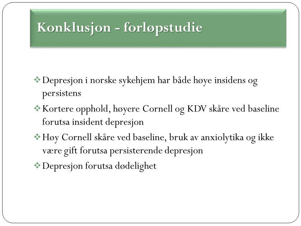  Depresjon i norske sykehjem har både høye insidens og persistens  Kortere opphold, høyere Cornell og KDV skåre ved baseline forutsa insident depresjon  Høy Cornell skåre ved baseline, bruk av anxiolytika og ikke være gift forutsa persisterende depresjon  Depresjon forutsa dødelighet Konklusjon - forløpstudie