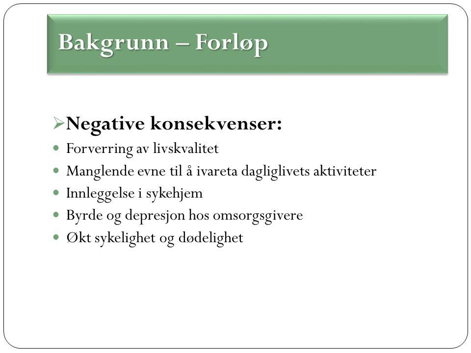  Negative konsekvenser: Forverring av livskvalitet Manglende evne til å ivareta dagliglivets aktiviteter Innleggelse i sykehjem Byrde og depresjon hos omsorgsgivere Økt sykelighet og dødelighet Bakgrunn – Forløp