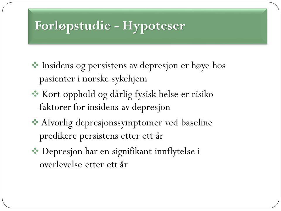  Insidens og persistens av depresjon er høye hos pasienter i norske sykehjem  Kort opphold og dårlig fysisk helse er risiko faktorer for insidens av depresjon  Alvorlig depresjonssymptomer ved baseline predikere persistens etter ett år  Depresjon har en signifikant innflytelse i overlevelse etter ett år Forløpstudie - Hypoteser